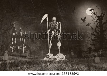 Grim reaper from hell rid misbehave soul in Halloween night, Style old photo - stock photo