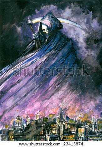 Grim Reaper in  town watercolor painted.Picture I have created myself. - stock photo