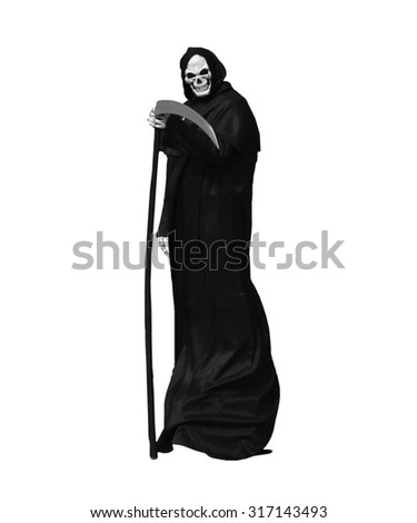 Grim Reaper isolated on white - stock photo