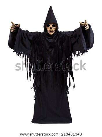 Grim Reaper on white background - stock photo