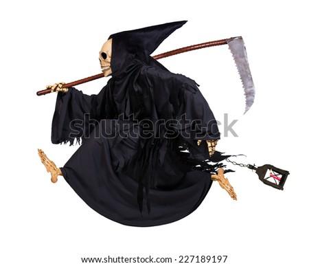Grim Reaper runs on white background - stock photo