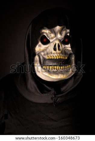 Grim reaper, scary halloween skeleton.  - stock photo
