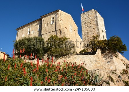 Grimaldi castle in Antibes, French Riviera, is classified historic monument. In 1946 Pablo Picasso installed his workshop in this castle, become today a museum dedicated to this artist. - stock photo