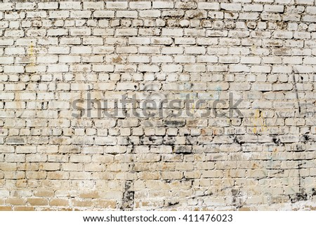 Grimy and dirt stained painted brick wall with marks and deterioration signs of age and wear. - stock photo