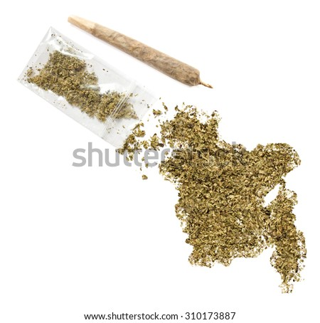 Grinded weed shaped as Bangladesh and a joint.(series) - stock photo
