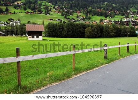 Grindelwald Village, Berner Oberland, Switzerland - UNESCO Heritage - stock photo
