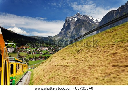 Grindelwald Village in Berner Oberland seen from Jungfrau Bahn,  Switzerland - stock photo