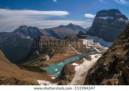 Grinnell Glacier - Glacier National Park - stock photo