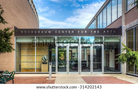 GRINNELL, IA/USA - AUGUST 8, 2015: Bucksbaum Center for the Arts on the campus of Grinnell College. - stock photo