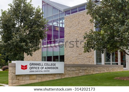 GRINNELL, IA/USA - AUGUST 8, 2015: Grinnell College Office of Admission on the campus of Grinnell College. - stock photo