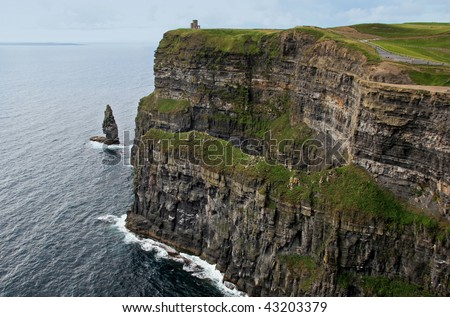 Gripping view of the Cliffs of Moher in Ireland - stock photo