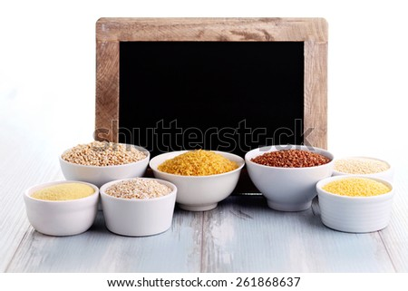 groats collection and frame -  food and drink - stock photo