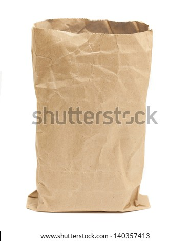 grocery bag on white background - stock photo