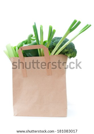 Grocery bag with vegetables  - stock photo