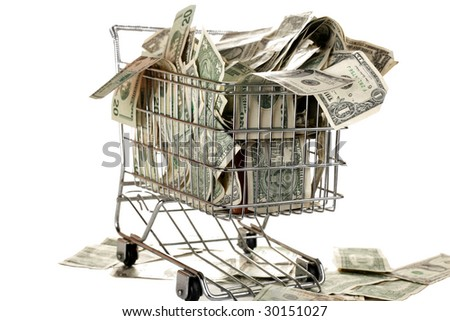 grocery cart full of cash isolated on white - stock photo