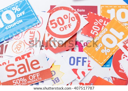 Grocery coupons - stock photo
