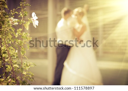 Groom and Bride in wedding. bouquet of flowers - stock photo