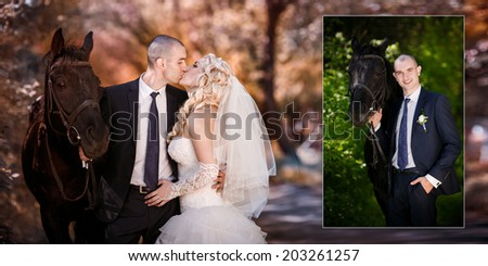 groom and the bride during walk in their wedding day against a black horse - stock photo