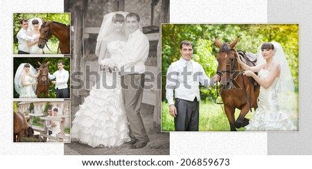 groom and the bride during walk in their wedding day against a  horse - stock photo