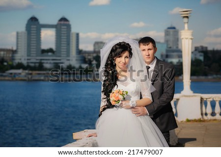 groom and the bride in their wedding day - stock photo