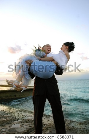 Groom carrying bride on ocean background - stock photo