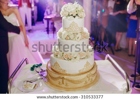 groom cutting the cake at their wedding - stock photo