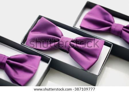 Groom's bowtie in little box - stock photo