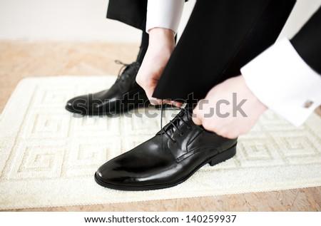 Groom's shoes - stock photo