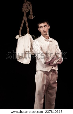Groom with a hanging rope - stock photo
