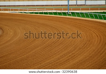 Groomed race track curve - stock photo
