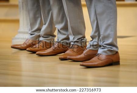 Groomsmen shoes - stock photo