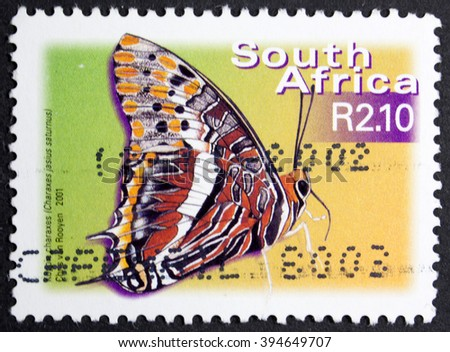 GROOTEBROEK ,THE NETHERLANDS - MARCH 15,2016 :  A stamp printed in South Africa shows butterfly, circa 2000  - stock photo