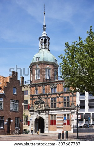 Groothoofdspoort (Big Head Gate) of the city of Dordrecht, province Zuid-Holland, the Netherlands - stock photo