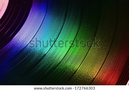 grooves of a vinyl 33 rpm LP stereo record  - stock photo