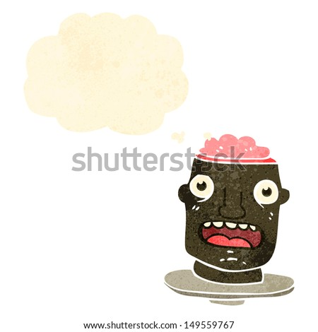 gross head on plate retro cartoon - stock photo
