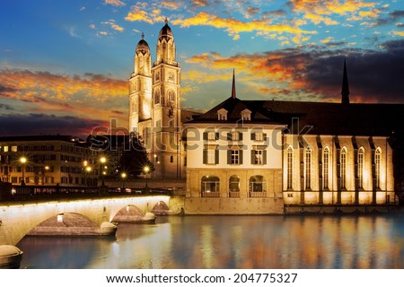 Grossmunster (The Great Cathedral) is the most representative landmark of Zurich city, Switzerland. - stock photo