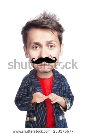 Grotesque portrait of a sad young man with a big had with large false mustache like a hipster, isolated - stock photo
