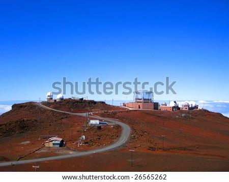 Ground-based Telescopes on the summit of Haleakala, Maui, Hawaii - stock photo