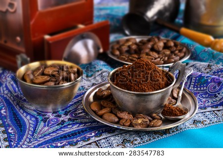 Ground coffee is in a metal Cup - stock photo