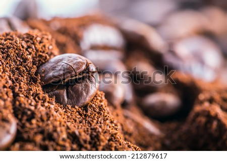 Ground coffee with the coffee beans.Macro - stock photo