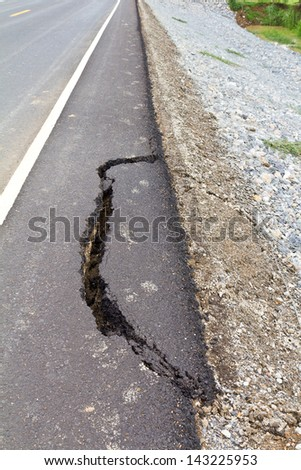Ground collapse may cause the fracture surfaces of asphalt on the road, which is dangerous. - stock photo