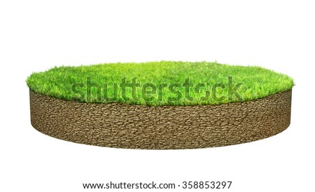 ground island with grass isolated - stock photo