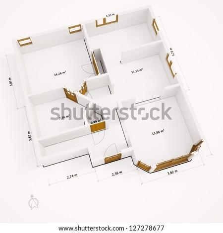 Ground plan with walls on white ground - stock photo
