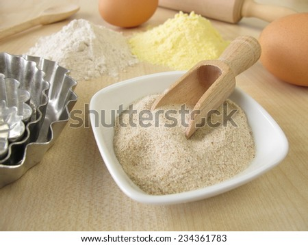 Ground psyllium seed husks, buckwheat and maize flour - stock photo