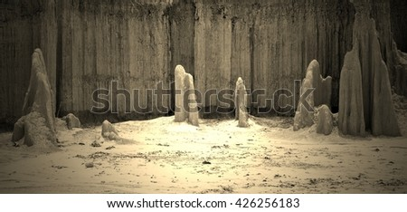 Ground scour a land on gray style  - stock photo
