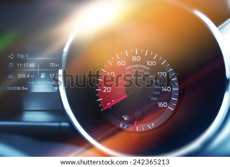 Ground Speed Tachometer. Speed Control Modern Car Dashboard Concept.  - stock photo