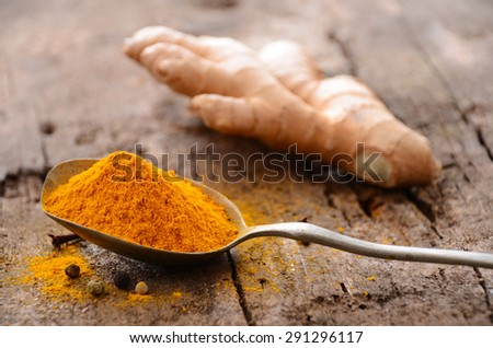 Ground turmeric in a spoon  - stock photo