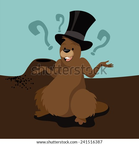 Groundhog Day decision design. stock illustration. - stock photo