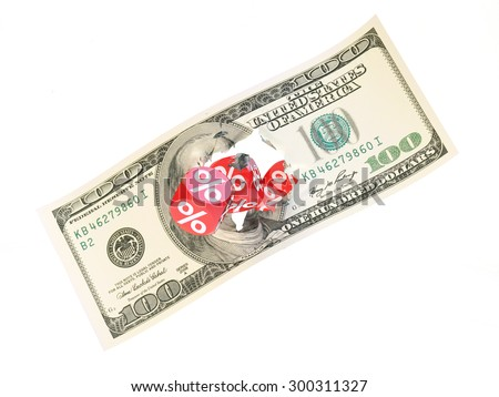 Group a percentage dice break 100 dollar - stock photo