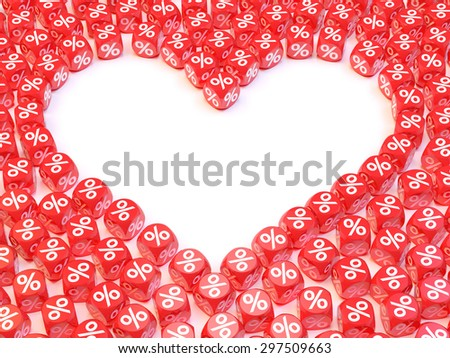 Group a percentage dice create a heart shape - stock photo